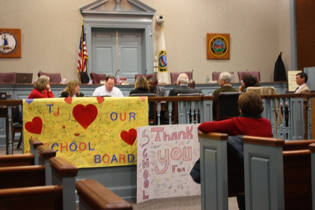 COLORFUL THANK YOU posters were hung in the Falls Church City Hall chambers tonight, signed by students at the Thomas Jefferson Elementary to thank the School Board for the renovation of their school. The School Board is pictured behind the signs in its work session prior to tonight's public hearing on the budget. (Photo: News-Press)