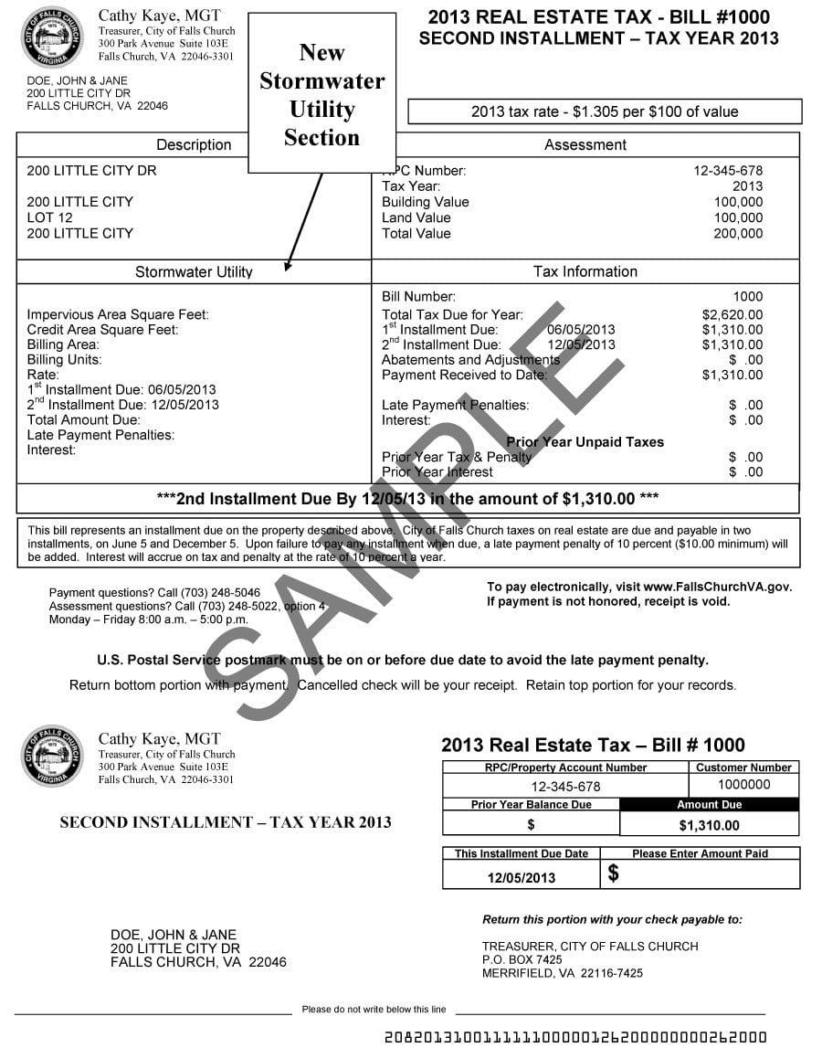 Sample F.C. storm water bill.