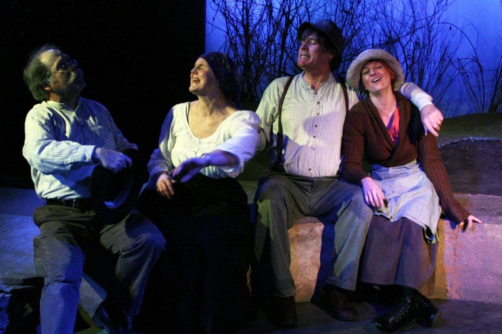"""Performing in Creative Cauldron's final run of """"Christmas Cabin of Carnaween"""" are, pictured above from left to right, E. Augustus (Gus) Knapp, Judy Butler, Jim Lynch, and Laura Gene Quackenbush. (Courtesy Photo)"""