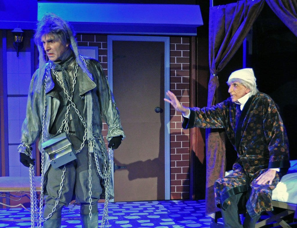 """In the Providence Players' """"A Christmas Carol,"""" Ebenezer Scrooge (played by John Barklay Burns) is visited by the ghost of his former business partner, Jacob Marley (played show co-producer David Whitehead).  (Photo: Chip Gertzog, Providence Players)"""