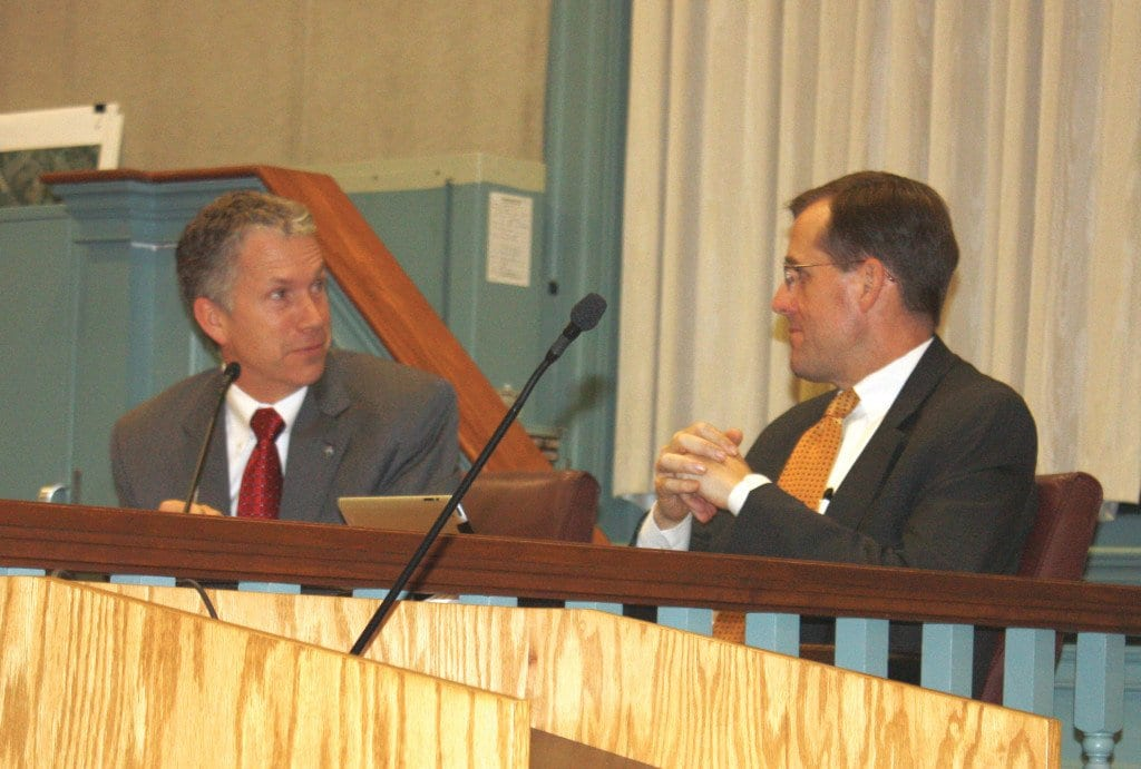 John Foster (right) served his final day as City Attorney for Falls Church on Monday. Photo: News-Press