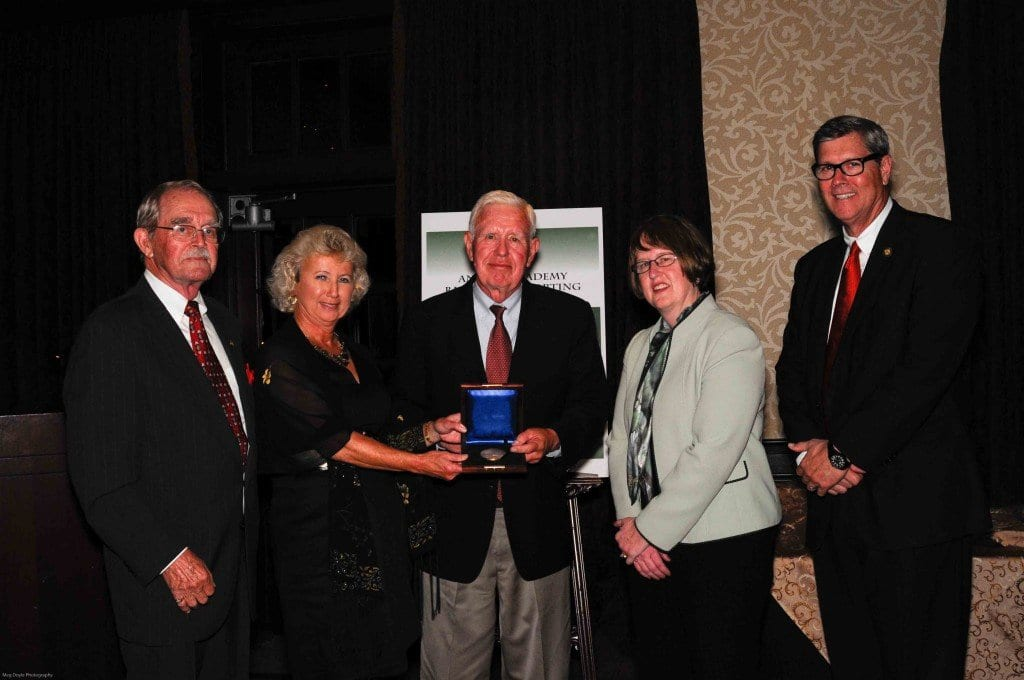 Pugsley Medal winner and longtime director of public policy for the National Recreation and Park Association Barry Tindall (center) is pictured with (from left to right) Walt Johnson, American Academy for Park and Recreation Administration award presenter; Fran Mainella, former National Park Service Director and Pugsley Committee chair; Sandra Reid, Davey Tree Experts corporate communications manager; and Tom Lovell, AAPRA president. (Courtesy Photo)