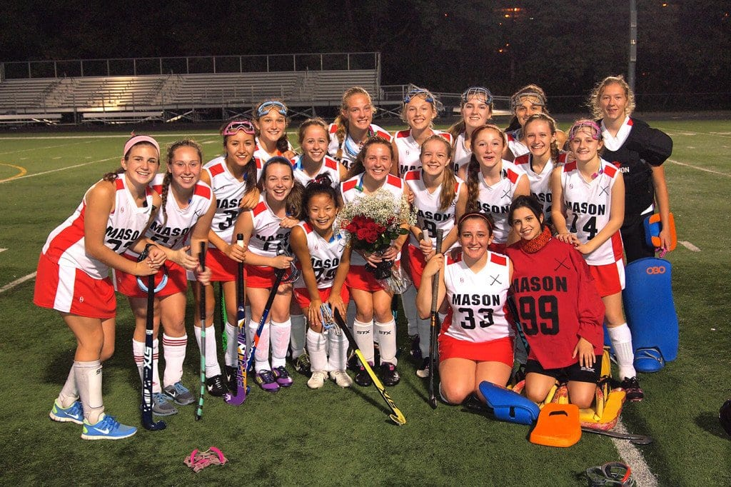 The Mason varsity field hockey team honored its sole senior squad member, Sarah Macris, before a home match against Bishop O'Connell High School last Wednesday. (Photo: Courtesy Justin Wills)