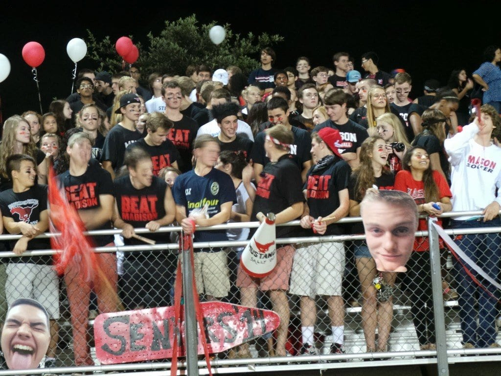 """A big Mason home crowd came out to see the Mustangs take on rival Madison County, many wearing the """"Beat Madison"""" shirts that seniors were selling in advance of the game. (FCCPS Photo)"""