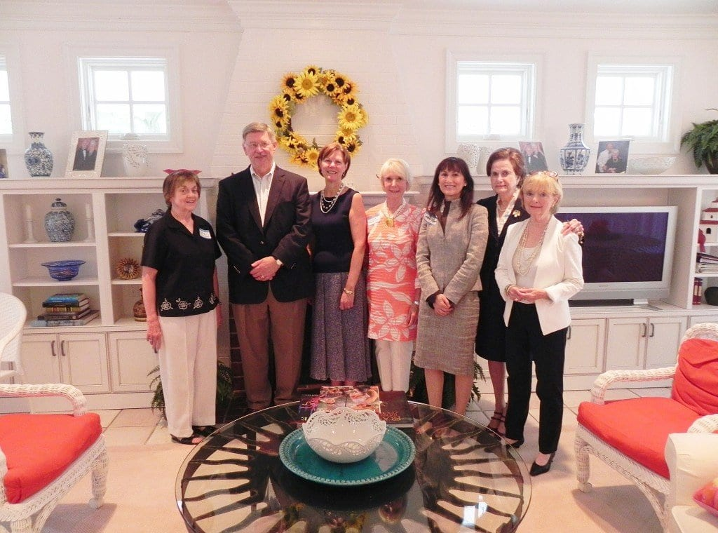 "Celebrating the McLean Woman's Club Kickoff Tea in advance of its December Holiday Homes Tour, from left to right, are Mildred ""Millie"" Thompson, Woman's Club president; Dranesville District Supervisor John Foust, honorary tour host; Admiral Kathleen L. Martin, Mrs. Albert Rosecan, and Dr. Karen Kierce, owners of homes on the 2013 Holiday Homes Tour; and Woman's Club Homes Tour Co-Chairmen Rosemarie Lazo and Jane Studabaker. (Photo: Laura Sheridan, Woman's Club of McLean)"