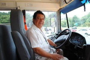 From behind the wheel of his Falls Church City Public Schools bus, Marco De las Casas was able to keep a watchful eye over his students and get them to school safely while still making the ride a fun and educational experience.  (Photos: News-Press)