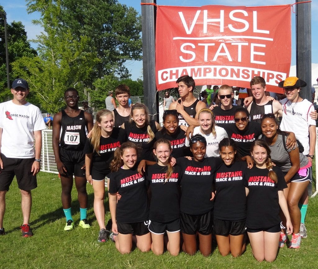 Mason track athletes are pictured above at the VHSL Track Championships at Radford University last Saturday.  Mason earned 14 All-State honors with their performances.  (Photo: Lindsay Harris)