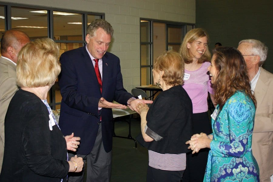 DEMOCRATIC GUBERNATORIAL candidate Terry McAuliffe greeted attendees of Sunday night's Falls Church Democratic Committee potluck. (Photo: News-Press)