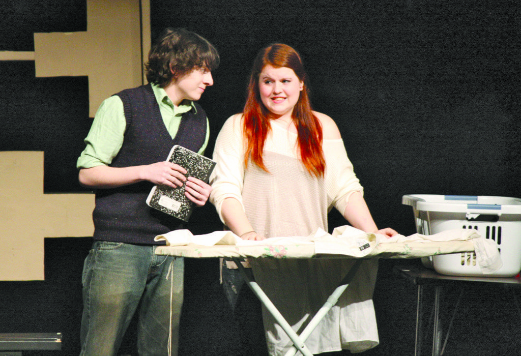 "Jimmy Miller and Ava Hockenberry starred in the ""This Hurts"" vignette of Falls Church High School's production of ""Almost, Maine."" (Photo: Rich Stanage)"